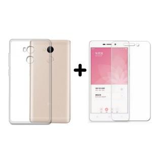 Комплект защитное стекло 2.5D 0.25мм (9H) + силиконовый чехол для Xiaomi Redmi 4 prime/pro