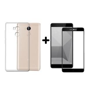 Комплект защитное цветное 3D стекло + прозрачный силиконовый чехол для Xiaomi Redmi 4 prime/pro